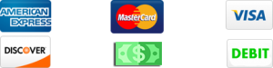Icons of AMEX, Mastercard, Visa, Discover, cash, and a debit card, representing the payment methods accepted by bail bondsman Liberty Bail Bonds Nassau in Yulee, FL